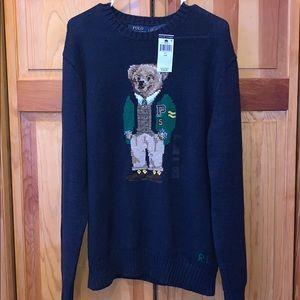 NWT L Polo Bear RalphLauren crewneck blue sweater